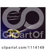 Clipart Congratulations Text With Wedding Bands Over Blue Royalty Free Vector Illustration by leonid