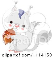 Clipart Cute White Squirrel Holding An Acorn Royalty Free Vector Illustration