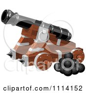 Clipart Pirate Cannon And Balls Royalty Free Vector Illustration