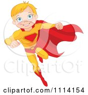 Clipart Flying Blond Super Hero Boy Royalty Free Vector Illustration by Pushkin