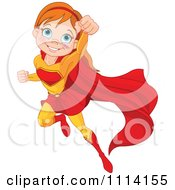Clipart Flying Super Hero Girl Royalty Free Vector Illustration by Pushkin