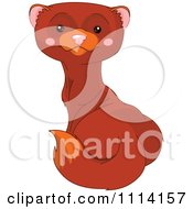 Clipart Cute Alert Mink Royalty Free Vector Illustration