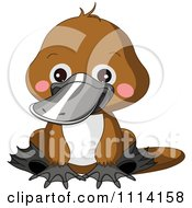 Clipart Cute Sitting Platypus Royalty Free Vector Illustration by Pushkin