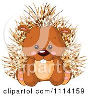 Clipart Cute Sitting Porcupine Royalty Free Vector Illustration by Pushkin