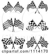 Clipart Black And White Crossed Checkered Racing Flags Royalty Free Vector Illustration