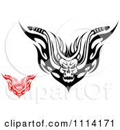 Clipart Red And Black And White Demons With Flames Royalty Free Vector Illustration