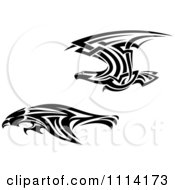 Clipart Fast Tribal Black And White Flying Eagles Royalty Free Vector Illustration