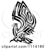 Clipart Tribal Black And White Flying Eagle Royalty Free Vector Illustration