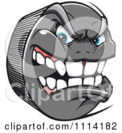 Clipart Aggressive Hockey Puck Royalty Free Vector Illustration