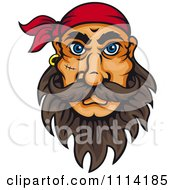 Clipart Pirate With Big Blue Eyes A Beard Stitches And Bandana Royalty Free Vector Illustration by Vector Tradition SM