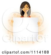 Happy Asian Woman Holding A Sign In Front Of Her Torso
