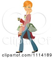 Clipart Happy Blond Woman Carrying A Coffee And Shopping Bags Royalty Free Vector Illustration by Amanda Kate #COLLC1114189-0177