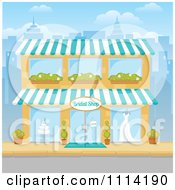 Clipart The Facade Of A Bridal Shop Building In A City Royalty Free Vector Illustration