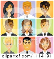 Clipart Happy Diverse Business People Avatars Royalty Free Vector Illustration