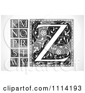 Clipart Black And White Floral Letters K M N O P Q S T W V And Z Royalty Free Vector Illustration