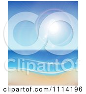 Clipart The Sun Shining Over The Sea And A Beach Royalty Free Vector Illustration