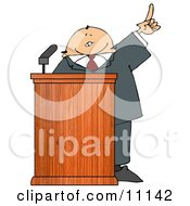 Man In A Suit At A Podium Giving A Passionate Public Speech