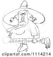 Clipart Outlined Ugly Witch Holding A Broom Royalty Free Vector Illustration