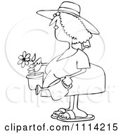 Clipart Outlined Woman Holding A Potted Flower And Watering Can Royalty Free Vector Illustration