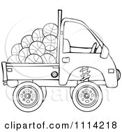 Clipart Outlined Kei Truck With Basketballs Royalty Free Vector Illustration
