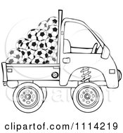 Clipart Outlined Kei Truck With Soccer Balls Royalty Free Vector Illustration by djart