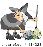Clipart Ugly Witch Sweeping Up Spell Items With A Broom Royalty Free Vector Illustration