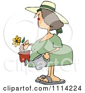 Clipart Woman Holding A Potted Flower And Watering Can Royalty Free Vector Illustration