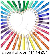 Clipart 3d Colored Pencils Forming A Heart Frame Royalty Free Vector Illustration