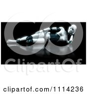 3d Reclined Female Robot On Reflective Black