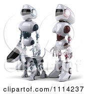 3d Futuristic Robotic Couple Walking With Their Dog