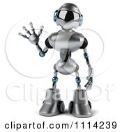 Clipart 3d Silver Male Techno Robot Waving Royalty Free CGI Illustration