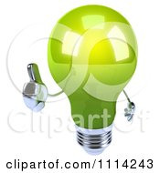 Clipart 3d Green Lightbulb Holding A Thumb Up Royalty Free CGI Illustration
