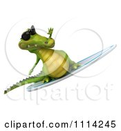 Clipart 3d Crocodile Wearing Shades And Surfing 4 Royalty Free CGI Illustration