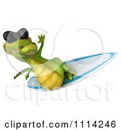 Clipart 3d Crocodile Wearing Shades And Surfing 5 Royalty Free CGI Illustration by Julos