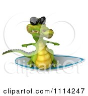 Clipart 3d Crocodile Wearing Shades And Surfing 3 Royalty Free CGI Illustration