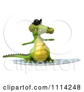 Clipart 3d Crocodile Wearing Shades And Surfing 1 Royalty Free CGI Illustration