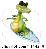Clipart 3d Crocodile Wearing Shades And Surfing 2 Royalty Free CGI Illustration by Julos