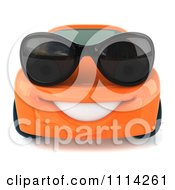 Clipart 3d Orange Porsche Car Wearing Sunglasses 2 Royalty Free CGI Illustration by Julos