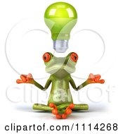 3d Green Frog Meditating Under A Lightbulb