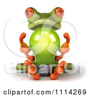 3d Green Frog Sitting With A Lightbulb