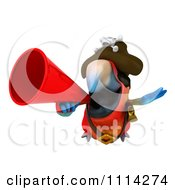 Clipart 3d Pirate Macaw Parrot Squaking Through A Megaphone 1 Royalty Free CGI Illustration