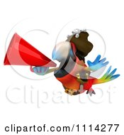 Clipart 3d Pirate Macaw Parrot Squaking Through A Megaphone 2 Royalty Free CGI Illustration