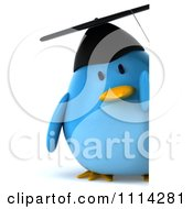 Clipart 3d Blue Penguin Graduate Holding A Sign 2 Royalty Free CGI Illustration
