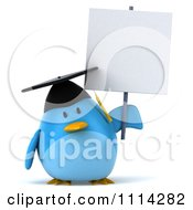 Clipart 3d Blue Penguin Graduate Holding A Sign 3 Royalty Free CGI Illustration