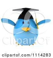 Clipart 3d Blue Penguin Graduate Flying 1 Royalty Free CGI Illustration