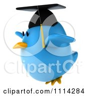 Clipart 3d Blue Penguin Graduate Flying 2 Royalty Free CGI Illustration