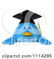 Clipart 3d Blue Penguin Graduate Holding A Sign 1 Royalty Free CGI Illustration