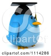 Clipart 3d Blue Penguin Graduate Facing Right Royalty Free CGI Illustration