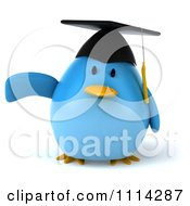 Clipart 3d Blue Penguin Graduate Pointing Royalty Free CGI Illustration
