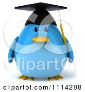 Clipart 3d Blue Penguin Graduate Royalty Free CGI Illustration